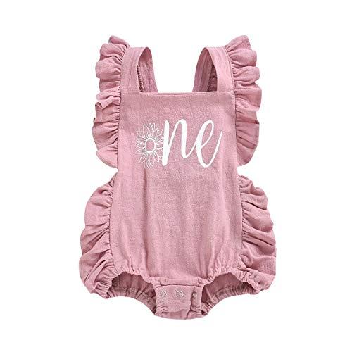 FYMNSI recién nacido bebé niña primer cumpleaños traje de pastel Smash One Print Volantes sin espalda de una sola pieza, mono mono de verano ropa foto accesorios 0-18 m Rosa Flor rosa. 6-12 Meses