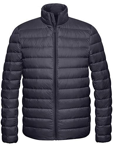 Wantdo Men's Packable Warm Lightweight Down Puffer Jacket Dark Grey XX-Large