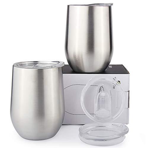 Sivaphe Reisebecher Kaffeetasse Weingläser Biergläser Edelstahl 2er Set Cappuccino Tassen Doppelwand Isolierte ohne Stiel Wein Bier Tassen mit Deckel 350ML-MEHRWEG