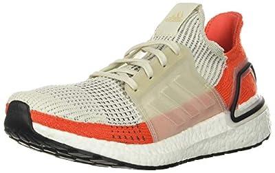 adidas Men's Ultraboost 19 Running Shoe, raw White/Active Orange, 8.5 M US