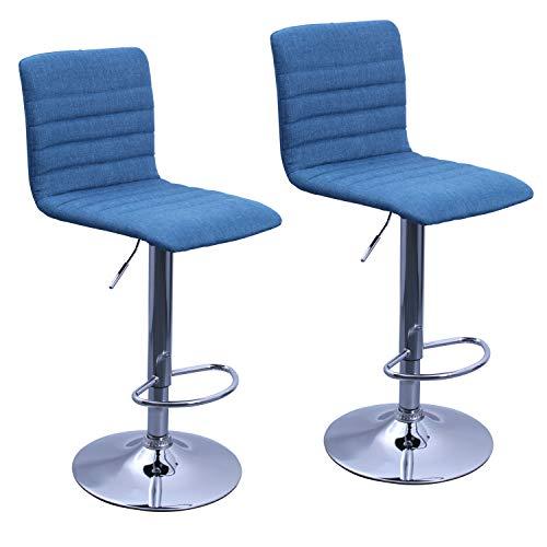 Duhome Barhocker 2X Barstuhl Kunstleder Tresenhocker Bar Sessel höhenverstellbar mit Lehne eckig 574, Farbe:Blau, Material:Stoff