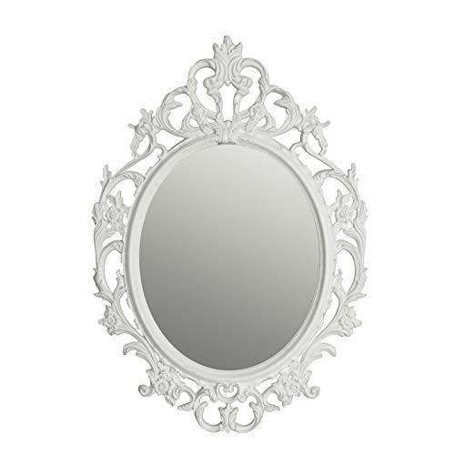 Miroir Mural de coiffeuse Design en Titane avec Ornements Blanc 84 x 59 x 3 cm