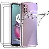 ivoler Funda para Motorola Moto G30 / G20 / G10, con 3 Unidades Cristal Templado, Transparente Suave TPU Silicona Carcasa Protectora Anti-Choque Caso Delgada Anti-arañazos Case
