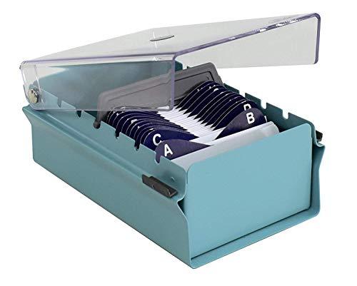Acrimet Organizador para Tarjetas de Presentación con Divisor y Indice A-Z incluidos (Índice A-Z 95mm X 68mm ) (Base de Metal Resistente Color Verde y Tapa de Plástico Transparente)