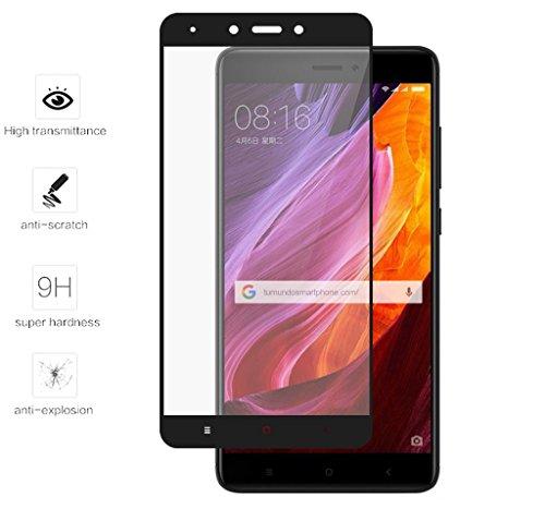 Tumundosmartphone Protector Cristal Templado Frontal Completo Negro para XIAOMI REDMI Note 4X/Note 4 Version Global Vidrio