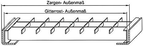Fenau // Grille conforme aux normes de l/'industrie du b/âtiment Caillebotis Maillage: 30//30 mm Pour les garages Dimensions: 240 x 990 x 30 mm Cadre: 250 x 1000 x 33 mm