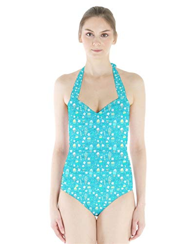 BOLAWOO-77 Frauen Strand Swimsuit Mode Badeanzug Cowcow Damen Badeanzug Rosa Rose Bikini Mädchen Badeanzug Bekleidung (Color : Tiffany Blue, Size : S)
