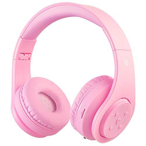 Draadloze bluetooth hoofdtelefoon voor kinderen en adolescenten vanaf 5 draadloze hoofdtelefoon over ear met volumeregeling incl. Radio on Ear draadloze opvouwbare hoofdtelefoon met microfoon HiFi Stereo lichtroze