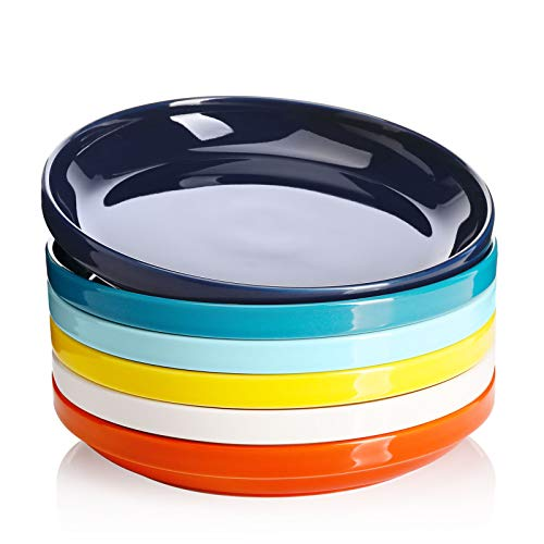 Sweese 118.002 Porcelain Stackable Salad Pasta Bowls - 22 Ounce - Set of 6, Hot Assorted Colors