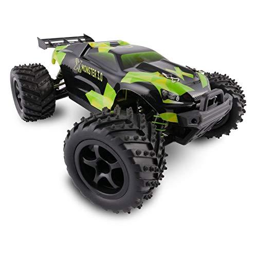 Overmax X-Monster ferngesteuertes Auto RC Auto Allradantrieb Reichweite von 100 Metern Geschwindigkeit 45 km h verstärkte Konstruktion präzise Steuerung, Schwarz-Grün