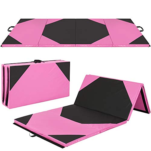 Best Choice Products 10ft 4-Panel Foam Folding Exercise Gym Mat for Gymnastics, Aerobics, Yoga w/Handles, Pink/Black
