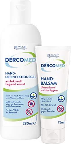 DERCOMED Hand-Desinfektionsgel, 280ml + DERCOMED Handbalsam 75ml - begrenzt viruzides Desinfektionsmittel im praktischen Set mit Handcreme zur hygienischen Hautpflege
