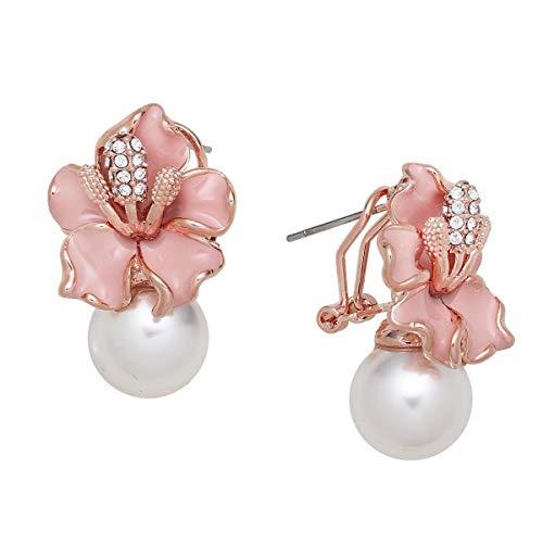 Pink Flower and Pearl Earrings