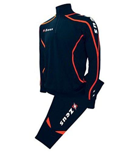 Tuta Zeus Viky Blu-Arancio fluo Completo Pinocchietto Calcio Uomo Donna Jogging Calcetto Muta Torneo Scuola Sport (L)