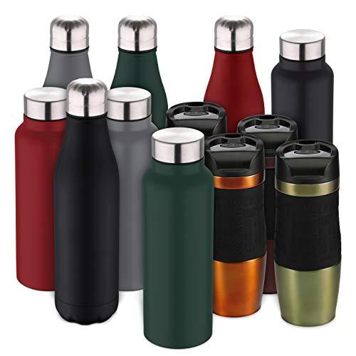 BERGNER - Borraccia per Acqua, 750 ml, in Acciaio Inox, Colore: Verde 750 ml Verde