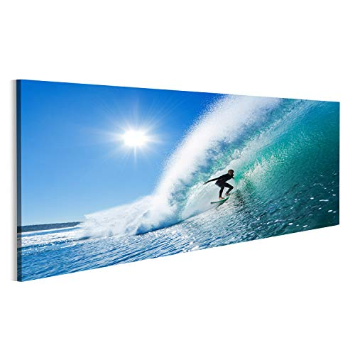 Bild Bilder auf Leinwand Surfer auf Blaue Meereswelle Wandbild, Poster, Leinwandbild MPA