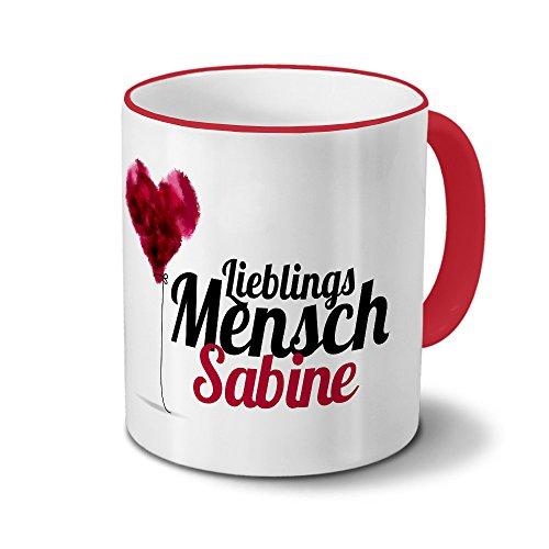 printplanet Tasse mit Namen Sabine - Motiv Lieblingsmensch - Namenstasse, Kaffeebecher, Mug, Becher, Kaffeetasse - Farbe Rot