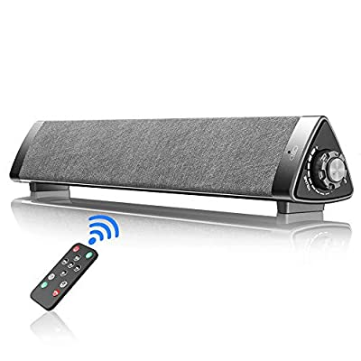 VersionTECH. PC Soundbar,Wired & Wireless Bluetooth BT Computer Speakers with Remote Control,Portable USB Home Theater Stereo Sound Bar (Gray) from VersionTECH.