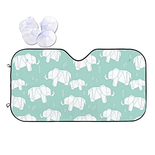 N\\A Car Windshield Sunshade Uv Protector Automotive Origami Elephant Pale Turquoise Window Sunshades Fit for Cars, Suvs, Trucks Keeping Your Vehicle Cooler