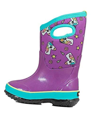 BOGS Kids Classic High Waterproof Insulated Rubber Neoprene Snow Rain Boot, Unicorns - Purple Multi, 10 M