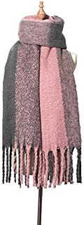 WUNONG-AU Female Solid Color Shawl Autumn and Winter Thick Lattice Warm Scarf Tassels Color Matching Scarf (Color : Pink, Size : 190-210cm)