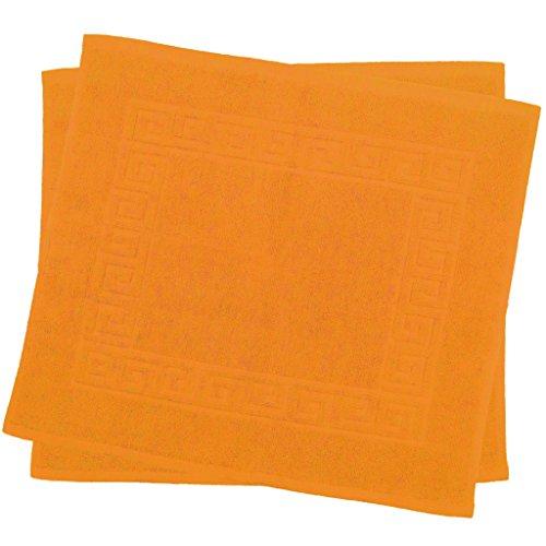 Lot de 2tapis de bain en coton de qualité haut de gamme 900g/m2Design spirale, Coton, Orange, 50 x 40 cm