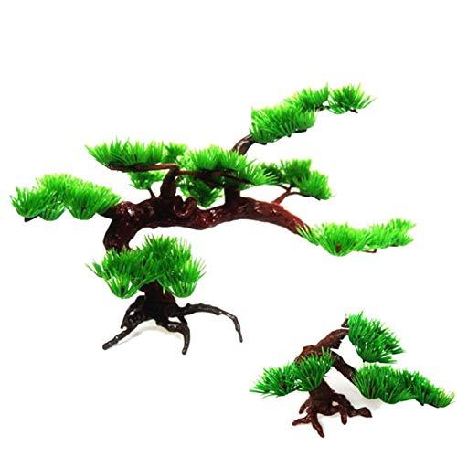 Decoración de acuario de resina, decoración de pecera, pecera, acuario, bonsái, adorno de plástico artificial, planta de pino – S 15 x 7 x 10 cm