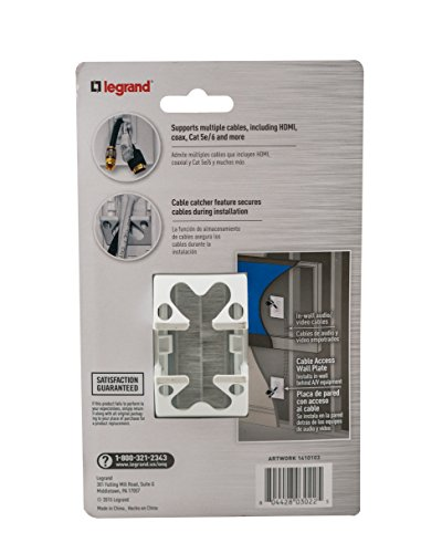 Legrand - OnQ Legrand, Home Office & Theater, In Wall Management Kit, Pass Through, Cable Access Brush Strap, WP1014WHV1, 1 Pack, White