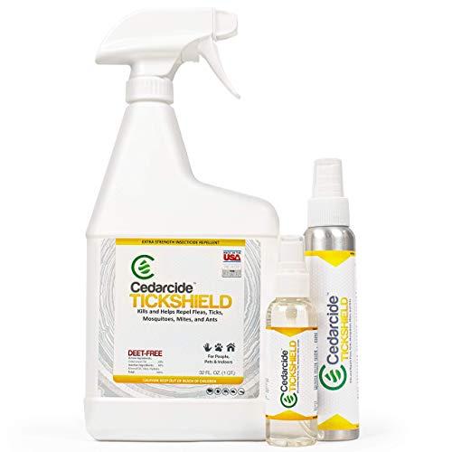 Cedarcide Extra Strength Tickshield Kit (Medium) - Deep Woods Cedar Oil Tick & Mosquito Repellent Spray for People, Pets, & Indoors - Kills & Repels Fleas, Ticks, Ants, Mites and Mosquitoes