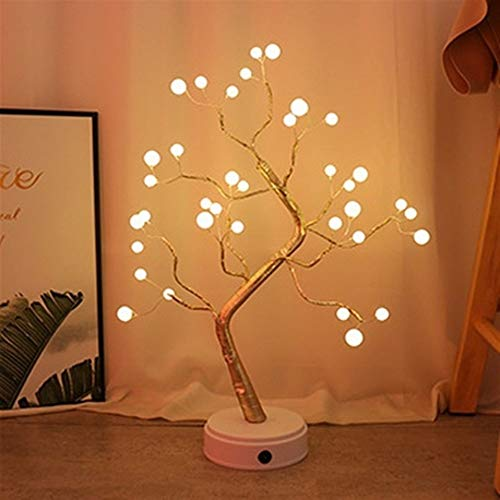 Grneric ShiDaTong LED Night Light Mini Christmas Tree Copper Wire Garland Lamp for Home Kids Bedroom Decor Fairy Lights Luminary Holiday Lighting (Emitting Color : Pearl Warm White)