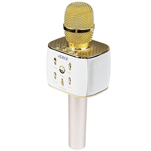 [Upgraded] VERKB Wireless Karaoke Microphone with Speaker Pro, Easter Gift Idea for Kids, 3-in-1 Portable Bluetooth KTV Karaoke Machine for Apple Android Smartphone or Pc (Light Gold)