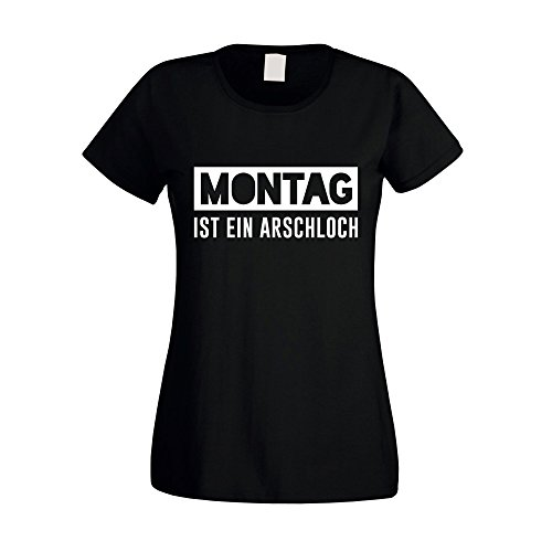 Damen T-Shirt - Montag ist EIN Arschloch - von Shirt Department, schwarz-Weiss, XS