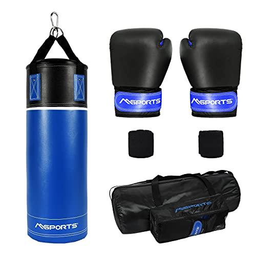 MSPORTS Boxsack-Set Professional für Kinder und Jugendliche 70 x 25 cm, Box-Set mit Boxhandschuhen, Boxbandagen und Tasche - 12 kg Blau-Schwarz Boxset