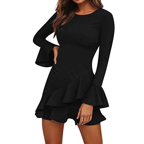 Rüschenkleid Minikleid Damen,Reizvolle Frauen Swing-Kleid Tief O-Ausschnitt Abendkleid Winter Langarm Kniekleid Laternenhülse Partykleid Herbstkleid Ballkleid (S, Schwarz)