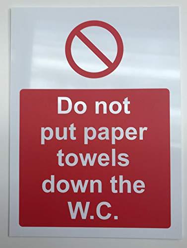 Hygiëne catering Leg geen papieren handdoeken op het W.C. veiligheidsbord - 1.2mm Rigid plastic 300mm x 200mm