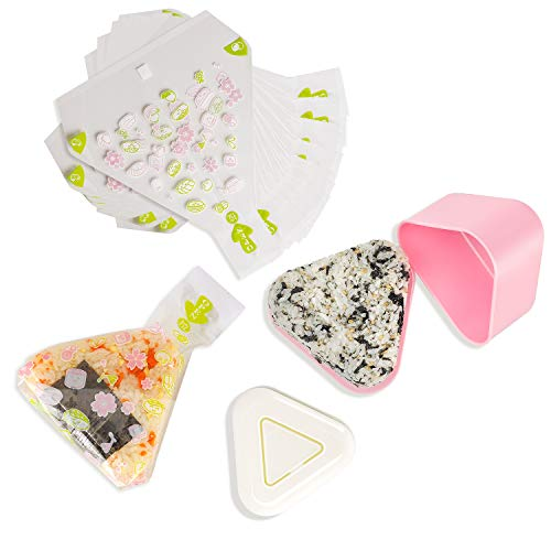 Set of 2 Triangle Sushi Molds Press  100 Disposable Onigiri Wrapper Bags  Stickers for Nigiri Rice Ball Bento Maker