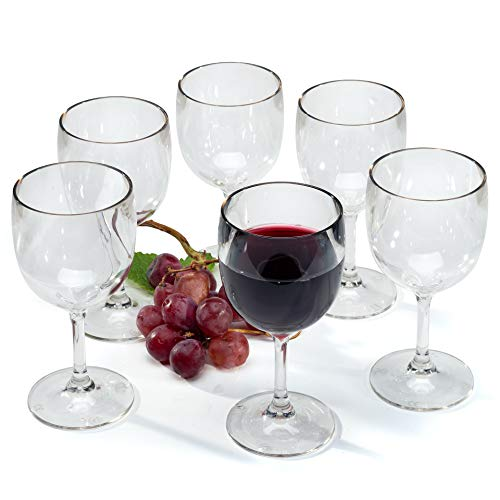 Copas de vino tinto plastico plástico reutilizables vasos agua policarbonato irrompibles 15 cl - Juego de 6 copas
