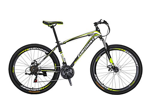 Eurobike Cool Mountain Bikes,X1 27.5 Inch,21 Speed Spoked Wheel Bicycle (Black-Yellow)