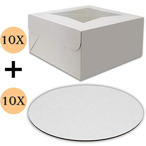 Cake Boxes 12 x 12 x 5 and Cake Boards 12 Inch, Bakery Box Has a Clear Window, Cake Board is Round, Cake Supplies, 10 Pack of Each.