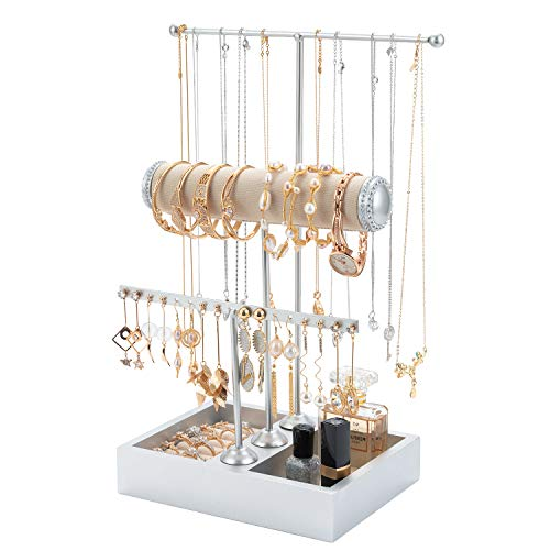 T-Form Schmuckständer Schmuckhalter Kettenhalter - 3 Stäben Schmuckbaum Kettenständer Uhrenständer Ohrringhalter QILICZ silber Schmuckaufbewahrung für Ringe, Ohrringe, Armbänder, Uhren und Accessoires