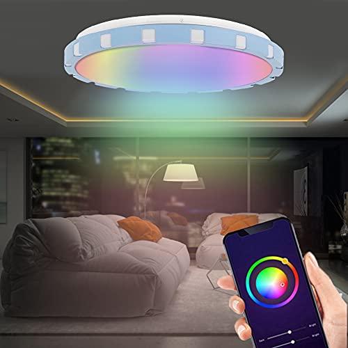 ROMACK Luz de Techo LED RGB, aplicación de Ahorro de energía, Control Remoto, Temporizador de luz de Techo Inteligente y Modo de Bricolaje para Dormitorio, Sala de Estar, Cocina