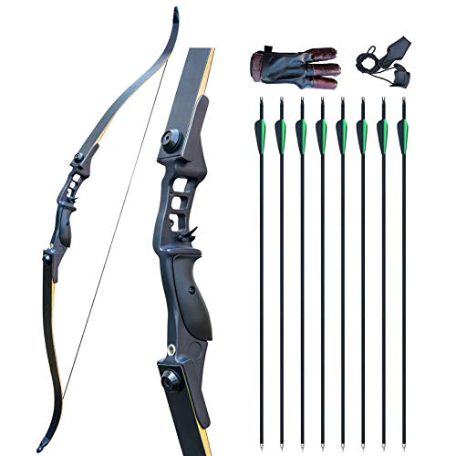 D&Q Archery Bow and Arrow Set Adult Recurve Bow Adult 52' 30-50lbs Longbow Right Hand Metal Riser...