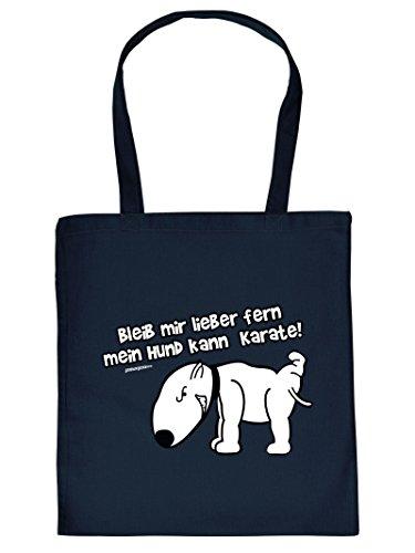Mega schöne Einkaufstasche Baumwolltasche Tragetasche für Hundeliebhaber - Bleib mir lieber fern mein Hund kann Karate! Tasche Hundebesitzer