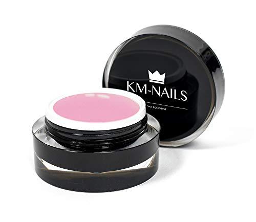 KM-Nails Aufbaugel [Studio-Qualität] für Babyboomer in natur rosa » Building Gel UV & LED härtend « Dickviskos & Honigeffekt | Thixotrope Eigenschaften – 15ml