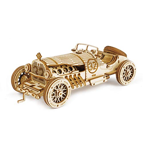 Yuui Wooden Mechanical Model Puzzle Car Model DIY Assembly Toys for Kids Boys Gifts