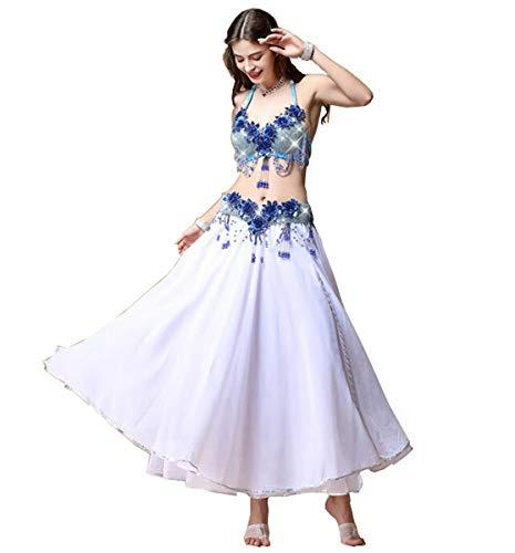 NANXCYR Gonna da Donna Belly Dance Gonna Costume Gonna in Chiffon Halloween Dance Outfit Elegante Sala da Ballo Abito da Spettacolo Latino Lungo Abito Bollywood,Bianca,L
