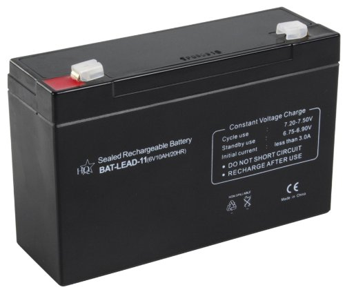HQ Lead-Acid 6V 10Ah Plomo-ácido 10000mAh 6V batería recargable - Batería/Pila recargable (10000 mAh, Sealed Lead Acid (VRLA), 6 V, Negro, 1 pieza(s))
