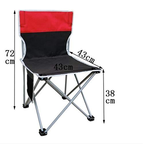Pkfinrd Outdoor klapstoel snel opvouwbare outdoor strand bank met rugleuning vissen camping stoel met draagriem opvouwbare kruk hoge rug regisseur stoel Extra large black + red