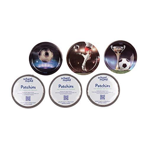 SCHOOL-MOOD Patchy-Set - 6-teilig - Klett-Patchies für Schulranzen und Zubehör (Fußball)