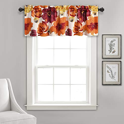 """Lush Decor Window Curtain Valance Leah Floral Insulated Grommet, 18"""" L, Red and Orange"""
